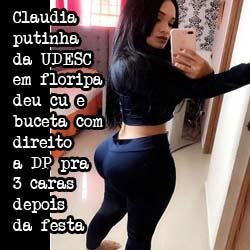 Claudia a putinha baixinha da UDESC em Floripa deu cu e buceta pra 3 caras